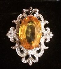 Estate 9CT Yellow Citrine and Natural Diamonds 14k White Gold Over Silver Ring
