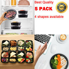 5 Pack Lunch Compartment Reusable Containers Meal Storage Food Prep Box Bento b,