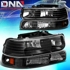 FOR CHEVY SILVERADO 1999-2002 BLACK HOUSING AMBER CORNER+BUMPER HEADLIGHT LIGHT