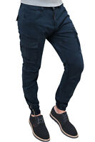 Pantaloni uomo Diamond Cargo blu scuro slim fit in cotone con tasconi laterali