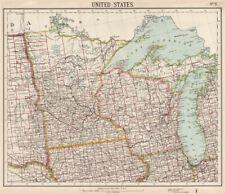 US MIDWEST Lake Michigan Superior Wisconsin Minnesota. Railroads. LETTS 1889 map