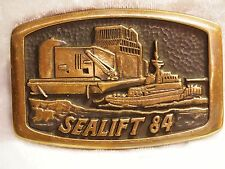 "BELT BUCKLE -ALASKA - ""SEALIFT 84""-ANACORTES BRASS WORKS  - 1984 -  HAND MADE"