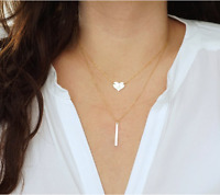 Damen doppel Kette Halskette silber gold Herz Stab Blogger lang Statement neu