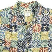 Cooke Street Blue Green Red Tapa Pattern Short Sleeve Hawaiian Shirt Mens XL
