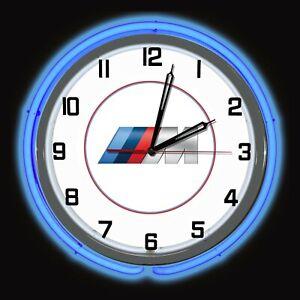 "19"" BMW M Series Sign Blue Neon Clock Carbon Fiber Like Bavarian Motor Works"