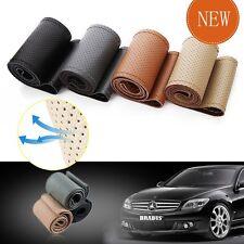 PU Leather DIY 38cm Car Steering Wheel Cover +Hole Needles + Thread Light Coffee