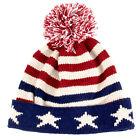 USA Flag Knit Theme Winter Pom Pom Hat Red White Blue Stars Stripes Patriotic