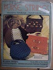 Vintage 1977 Purse Strings Macrame Pattern Instruction Book 14 Designs & Project