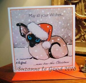 Siamese cat painting art Christmas card original design by Suzanne Le Good