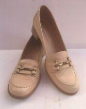 Marco Moreo Ladies Shoes 39 Court Cream Leather UK 6 Beige Low Heel Slip Sheen