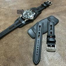 Size 18/20/22mm Vintage Sport Rally Black Leather Bund Watch Strap Band #094J