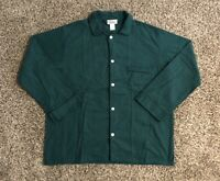 VTG LL Bean Mens Button Down Pajama Shirt XL Green 100% Cotton Made In USA