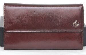 CHANEL Patent Leather Long Wallet Burgundy Flap Bi-Fold Silver CC Card Coin