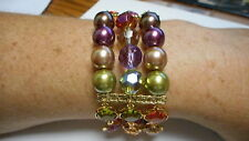 Kaleidoscope * Gold Tone Wow Premier Designs Jewelry Beautiful Bracelet *