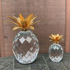 Set Of 2 Swarovski Crystal Pineapple Gold Leaf 4� & 2� Paperweights