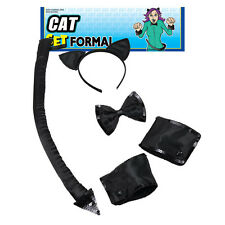 Cat Set Halloween Black Formal Sequin Unisex Fancy Dress One Size