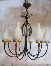 Fabulous Mid Century Modern French iron Chandelier in the manner of Jean Royere