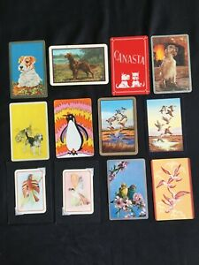 Lot of 12 X Vintage Swap / Playing Cards - Birds / Dogs / Animals