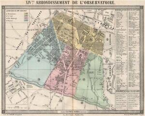 PARIS 14e 14th XIVme arrondissement de l'Observatoire. BARBA 1860 old map