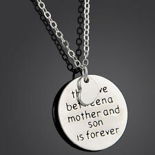 "Carved Words ""The Love Between A Mother And Son Is Forever"" Necklace Pendant"