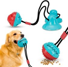 New listing Vzatt Double Suction Cup Dog Toys, Interactive Pet Rope Ball Toys Food Dispenser