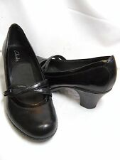 Clarks Womens Shoes / Heels 80507   Size 7.5 M   Black Leather  #JS
