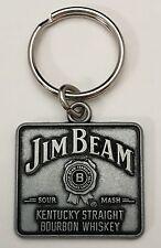 Jim Beam Kentucky Straight Bourbon Whiskey Square Pewter Keychain Key Ring Fob