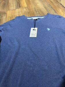 Herrenpullover Neu mit Etikett Gr.XXL Blau U.S.POLO ASSN. Sommerware 100%Cotton
