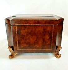 ETHAN ALLEN Hinged Wooden Storage Box French Country Velvet Lined Footed