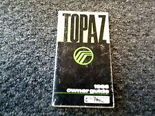 1986 Mercury Topaz Sedan Owner Owner's Operator User Guide Manual GS LS 2.3L