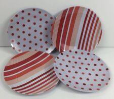 "Set 4 Melamine Salad Plates Polka Dot Stripe Red Orange 8.5"" Outdoor Pool Dining"