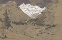 MORTERATSCH GLACIER PONTRESINA SWITZERLAND Victorian Watercolour Painting c1870