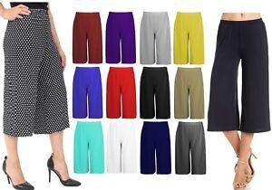 Cropped Wide Leg Culottes Trousers for Women Ladies 3/4 Length Pants Plus Size