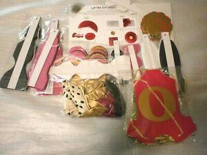 "Baby Shower Decor 38pcs Set Hot Pink,Gold,Black & White, Complete up to 16"" fans"