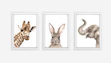 Giraffe, Bunny, and Elephant Print Set - neutral nursery prints watercolour