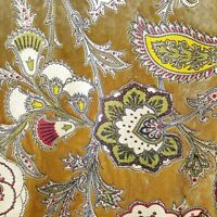 """GOLD OLIVE FLORAL CHINTZ UPHOLSTERY DRAPERY VELVET FABRIC 56"""" BY THE YARD"""