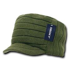 Olive Green Knit Flat Top Visor Cap Hat GI Military Army Cadet Jeep Beanie Hats
