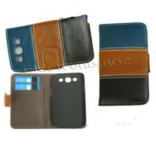 Leather Cover Case Card Pouch For Samsung Galaxy S3 III i9300 Blue Brown Black