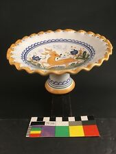 Art Deco Style Terracotta Faience Pottery Compote Leaping Gazelle Stag