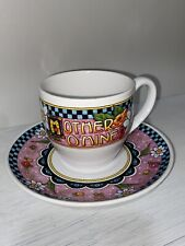 Mary Engelbreit Mother O' Mine 7oz Cup & Saucer Set Time For Tea Floral Flowers