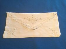Porte serviette ancien en coton fin blanc, dentelles et broderie Richelieu ...
