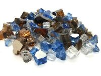 """Tropic Blue, Amber, Clear 1/2"""" Premium Reflective Fire Glass Fireplace Fire Pit"""