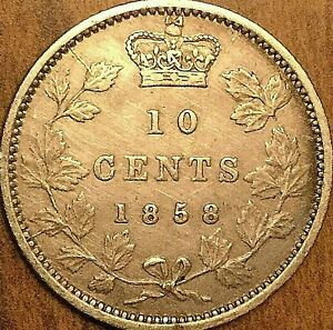 1858 CANADA SILVER 10 CENTS DIME COIN - Beautiful example!