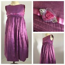 BHS Shiny Pink Long Party Bridesmaid Dress with Flowers. Age 6 years.