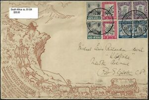 SOUTH AFRICA 1933 VOORTREKKER CENTENARY Sc B1 B4 SG 50 53 ON FDC W/CACHET CAPETO