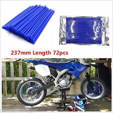 72pcs Universal Motocross Bike Tire Wheel Rim Spoke Skins Cover Protector Blue
