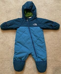The North Face Blue Green Insulated Bunting Infant 3 6 Months