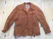 GUARCREST: Vtg 60s Brown Suede Leather Big Collar Hippy Cost Jacket, Mens MEDIUM