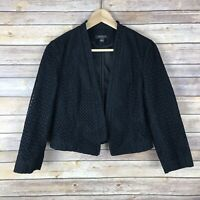 Ann Taylor Womens 100% Cotton Crochet Jacket Open Front Crop Blazer Black Size 4