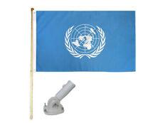 New listing 5' Wooden Flag Pole Kit W/ Nylon White Bracket 3x5 United Nations Polyester Flag